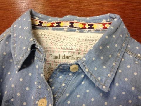FINALDECISIONドットシャツ襟ぐり